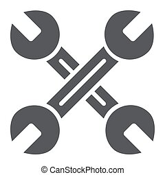 Key mechanic glyph icon, auto and tool, crossed wrenches sign, vector graphics, a solid pattern on a white background.