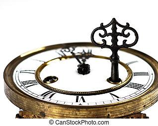 key.., números, romano, viejo, reloj
