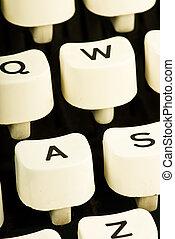 key of typewriter closeup