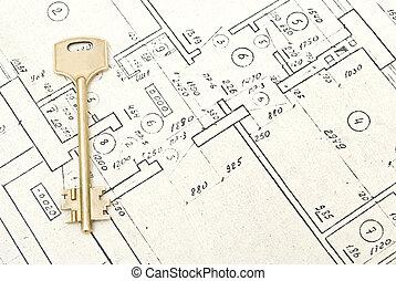 key on a house blueprints