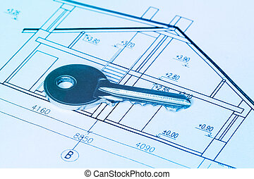 Key on blueprint of new house
