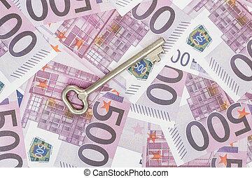 Key on euro money background