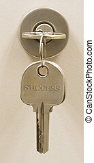 Key on lock. Sucess word on the other key