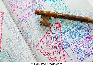 Key on passport full of stamps