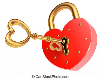 key opens the padlock, on a white background, 3d render