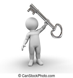 key owner - A character is holding his house key up in the ...