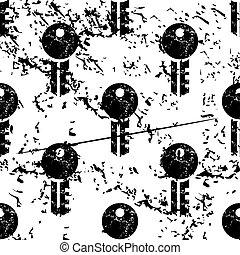 Key pattern, grunge, monochrome