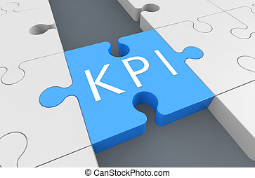 Key Performance Indicator - puzzle 3d render illustration