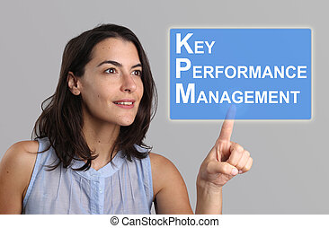 Key Performance Management Concept - Woman Pointing at KPM...