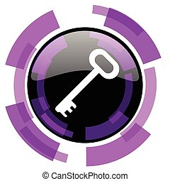 Key pink violet modern design vector web and smartphone icon. Round button in eps 10 isolated on white background.