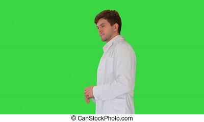 key., porter, blanc, chroma, vert, quelque chose, docteur, manteau, écran, expliquer