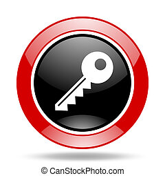 key red and black web glossy round icon