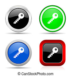 Key red, blue, green and black web glossy icon set in 4 options