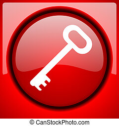 key red icon plastic glossy button