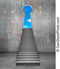 Key shape door on business doodles wall with concrete stairs