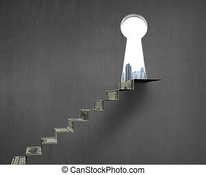 Key shape hole with money stairs