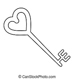 Key Shaped Heart Style Outline