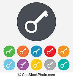 Key sign icon. Unlock tool symbol. Round colourful 11...