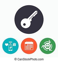 Key sign icon. Unlock tool symbol.