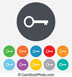 Key sign icon. Unlock tool symbol. Round colourful 11...