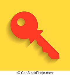 Key sign illustration. Vector. Red icon with soft shadow on golden background.
