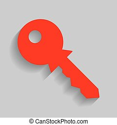 Key sign illustration. Vector. Red icon with soft shadow on gray background.
