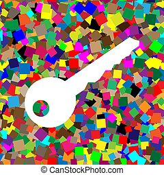 Key sign illustration. Vector. White icon on colorful background
