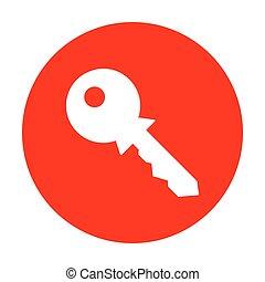 Key sign illustration. White icon on red circle.