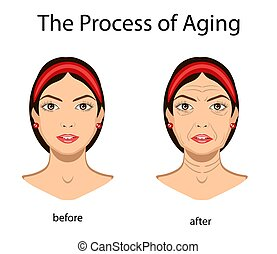 Key signs of aging, vector illustration isolated
