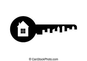 Key silhouette,real estate logo or icon,