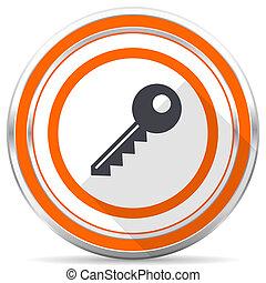 Key silver metallic chrome round web icon on white background with shadow
