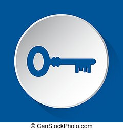 key, simple blue icon on white button