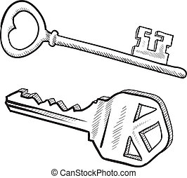 Key sketch - Doodle style antique lock and key illustration...