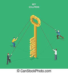 Key solution isometric flat vector concept.