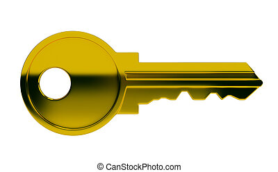 key - Polished gold key. 3d image. Isolated white...