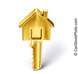 key - golden key isolated on a white. 3d illustration