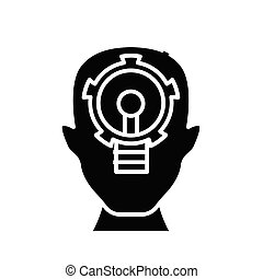 Key task black icon, concept illustration, vector flat ...