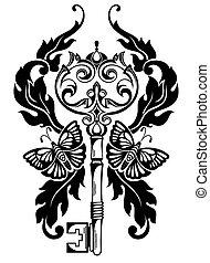 Key tattoo - Vector illustration of vector key