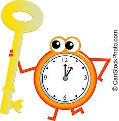 key time - Mr clock man holding a giant golden key.