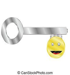 Key to happiness - Concept illustration of a key with a ...