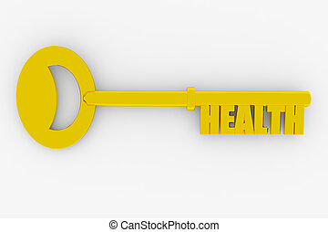 Key to health on white surface. Concept. 3D render image.
