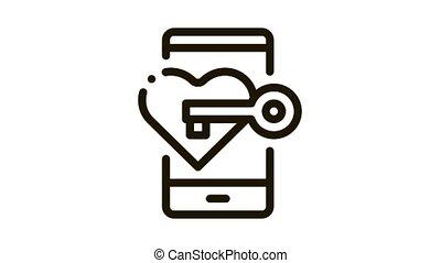 Key to Heart Icon Animation. black Key to Heart animated icon on white background
