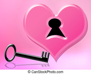 key to my heart - black key and pink heart for valentines...
