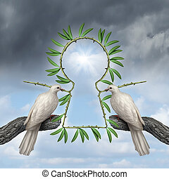 Key to peace symbol as two white doves coming together with a reconciliatiation solution with olive branches that are in the shape of a keyhole as a metaphor for friendship resolution and alternative to war.