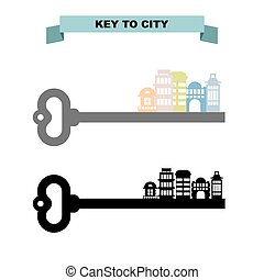 Key to sity. Vintage key and city buildings. Office skyscrapers and shops.