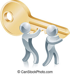 Jigsaw piece gold people illustration of two gold people mascots holding a giant key