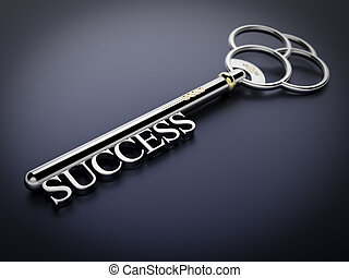 Key to Success - Dark Blue - A silver key with the word ...