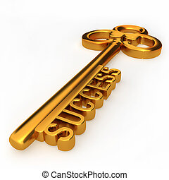 Key to success - Golden key to success isolated white...