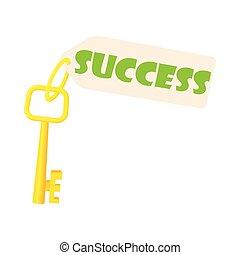 Key to success icon, cartoon style