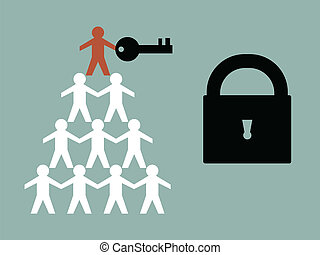 Key to Success - Illustration of teamwork paper man hold the...